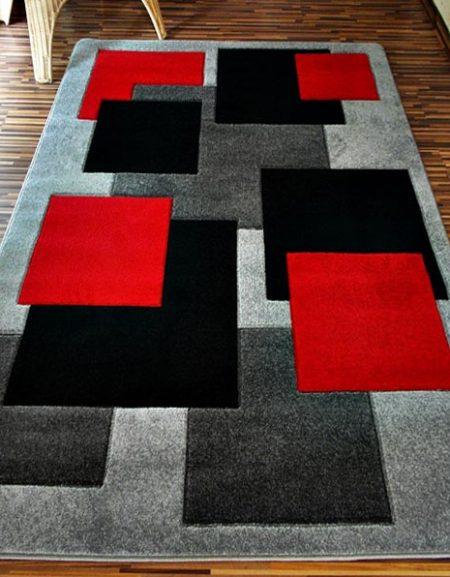 Dywan Fryz 3D wzór Tetris szaro czerwony