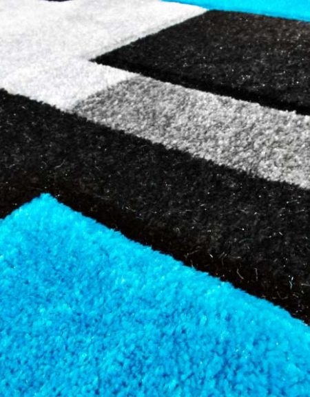 Dywan Fryz 3D wzór Tetris szaro turkusowy