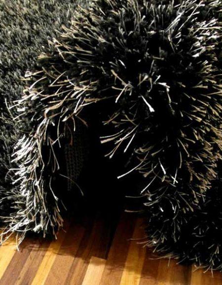 Dywan shaggy Flora czarny melanż