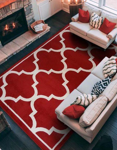 Dywan fryz marokańska koniczynka duża czerwona