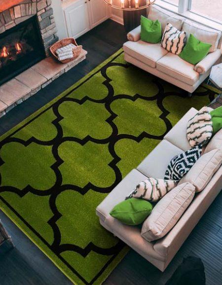 Dywan fryz marokańska koniczynka duża zielono czarna