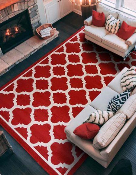 Dywan fryz marokańska koniczynka mała czerwono biała