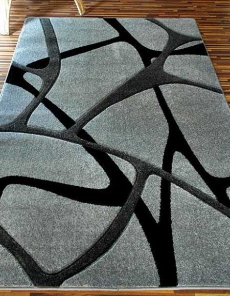 Dywan Fryz 3D wzór Błonka szaro czarna