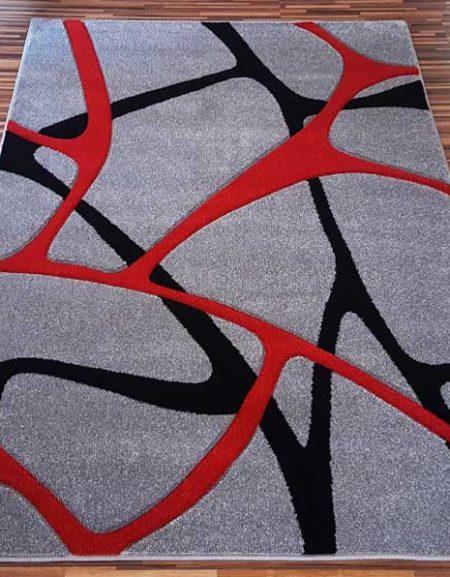 Dywan Fryz 3D wzór Błonka szaro czerwona
