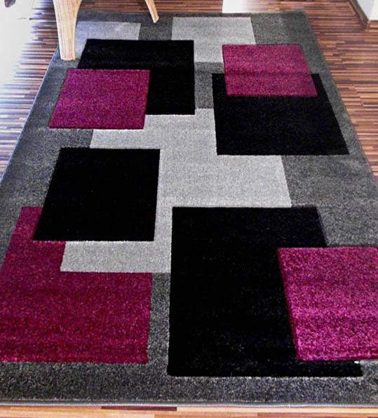 Dywan Fryz 3D wzór Tetris szaro fioletowy