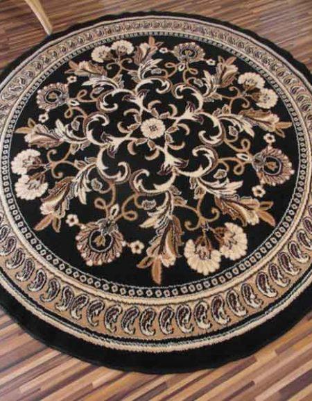 Dywan Okrągły Alfa BCF Kwiaty czarne